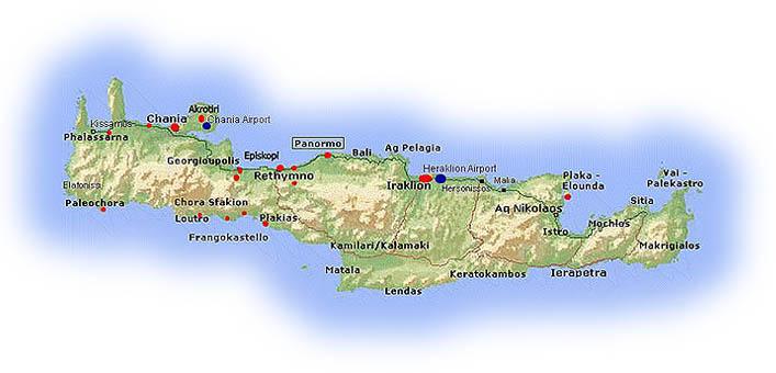 kart av kreta Oversikt over Kreta kart av kreta